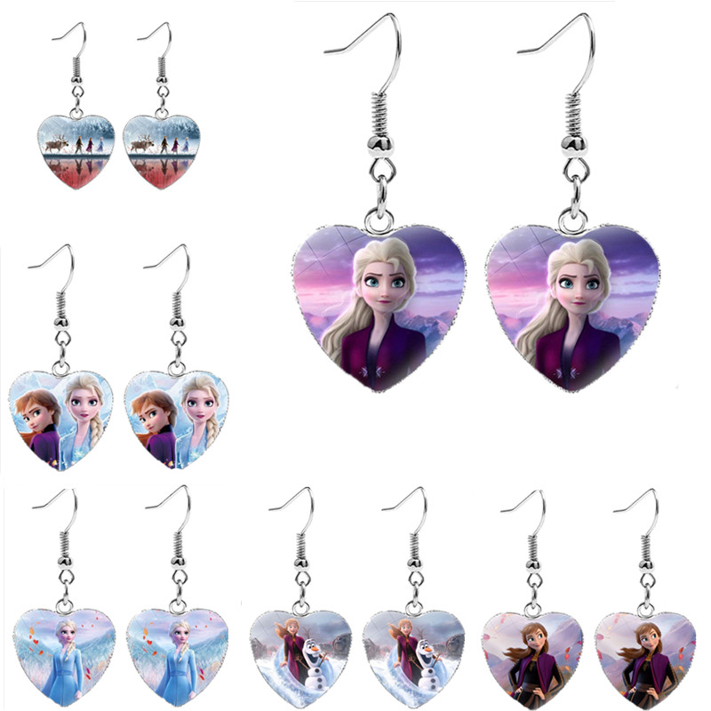 Hot Elsa Anna Princess Ladies The Long Chain Jewelry Earring Crystal Cabochon Earring Snow Queen For Girls Baby Stud Earrings