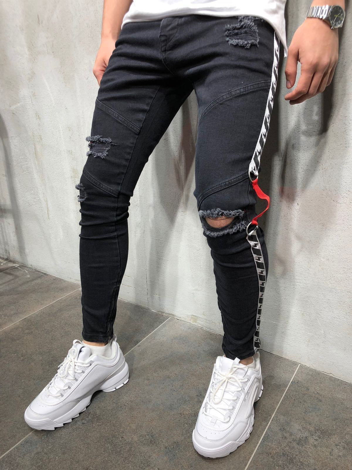 2019 Europe And America MEN'S Jeans Webbing With Holes Skinny Slim Fit Foot Mouth Zipper New Style Men'S Wear Fashion