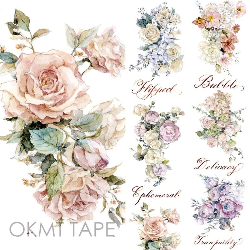 Rose Floral Washi Tape Scrapbook Sticker Flower Masking Tape Material Escolar Washitape Papelaria School Supplies