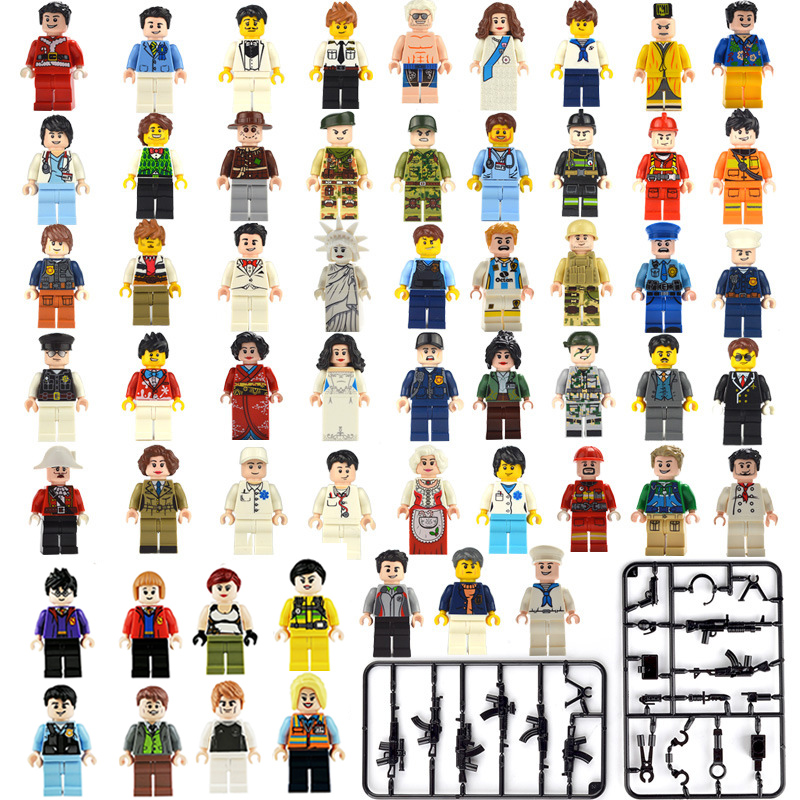 50pcs LegoINGlys Minifigure Building Blocks Figures Bricks DIY Toys Weapon Polices Soldier Mini People For Kids Girls Boys Gifts