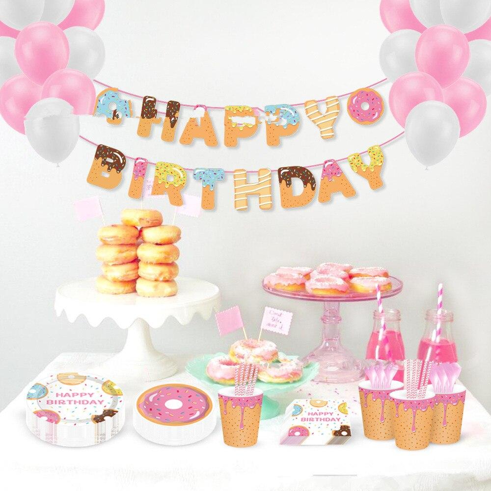 Пончики вечерние украшения воздушные шары с днем рождения баннер для детей Baby Shower Детские 1st День рождения вечерние Декор пончики Бумага пл...