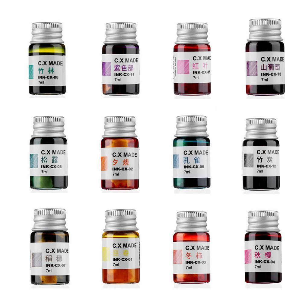 7ml Creative Colored Painting Ink Gold 12 Colorful Signature Non-carbon Pen Ink Ink Fountain Painting Calligraphy Graffiti B2H3
