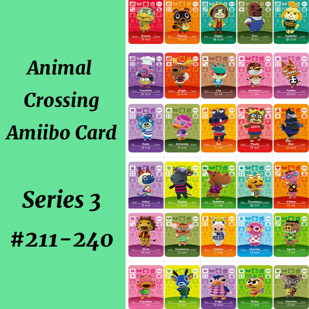 Series 3(211-240) Character Mitzi Isabelle Wendell Lily Anchovy Amiibo Card Work For Switch NS Games Amiibo Card