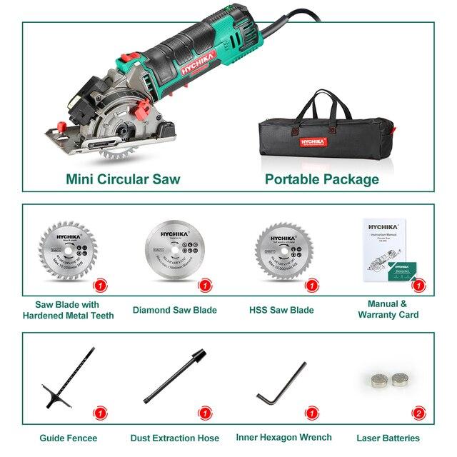 HYCHIKA 500W Electric Mini Circular Saw With Laser 120V 220V Multifunctional Electric Saw DIY Power Tool For Cut Wood,PVC tube 6