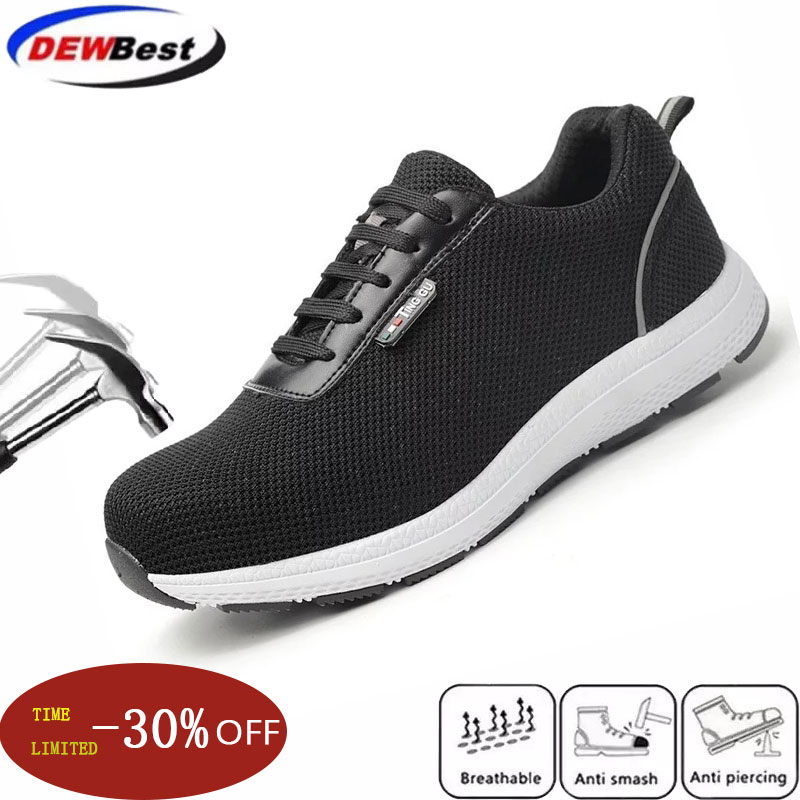 Dewbest 2019 New Men's Outdoor Steel Toe Protective Safety Short Boots Shoes Men Steel Mid Sole Puncture Proof Work Shoes