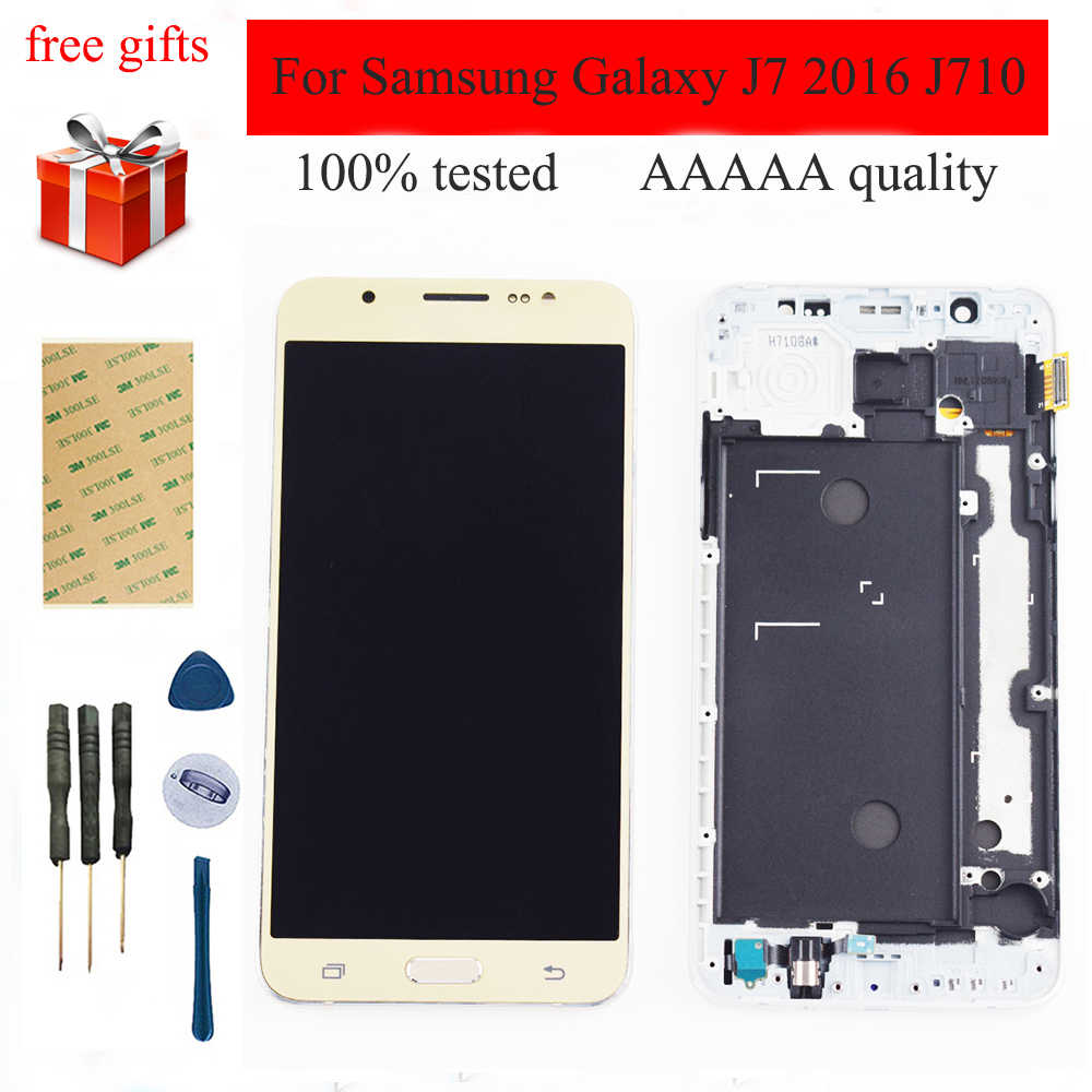 5.5 ''สำหรับ Samsung Galaxy J7 2016 LCD J710LCD J710F LCD J710M J710MN J710H จอแสดงผล LCD Touch Screen Digitizer Assembly กรอบ