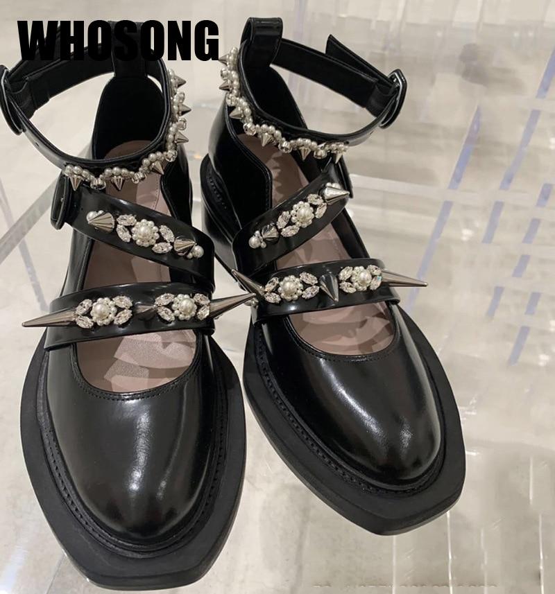 Autumn Women Shoes Girls Brand Platform Shoes Woman Rhinestone Shoes Ladies Fashion Shoes Female Soft Black Shoes Mary Jane 2020