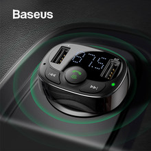 Baseus Fm-zender Aux Modulator Draadloze Bluetooth Handsfree Car Kit Car Audio MP3 Speler Quick Charge Dual Usb Car Charger(China)