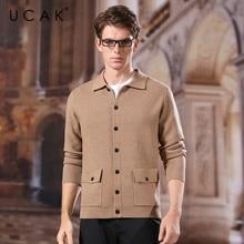 UCAK Brand Sweatcoat Men New Arrival Spring Autumn Casual Streetwear Turn-down Collar Single Breasted Pockets  Sweater Men U1047