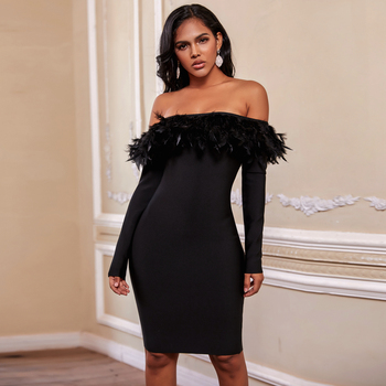 Ocstrade 2020 Women Off Shoulder Black Bandage Dress Rayon Feather Sexy Long Sleeve Bandage Dress Bodycon Evening Party Dress ocstrade new fashion mesh insert metallic bandage dress 2020 women silver off shoulder bandage dress bodycon evening party dress