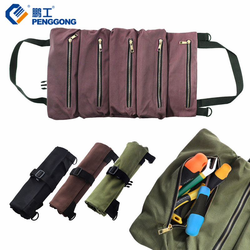 Tool Bag 500*290mm Canvas Roll Up Bag Multi-Purpose Storage Bag Portable Zipper Wrench Pouch Hanging Tool Organizer