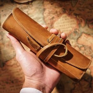 Image 5 - 100% en cuir véritable sac à crayons pochette de rangement Rollup stylo sac organisateur Wrap sac Vintage rétro créatif papeterie produit