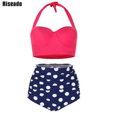 Riseado 2020 גבוהה מותן ביקיני Push Up בגדי ים נשים הדפסת נקודה חליפות חדש הלטר בתוספת גודל בגדי ים XXXL