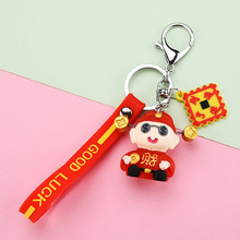 blucome kawaii green blue lucky toad keychains women present chinese wealth frog key chian moon chaveiro keyring llavero jewelry 2020 New Chinese Style Series God Of Wealth Keychains Metal Pendant Oil Drop Craft Small Gift Men Key Chains Jewelry Key Rings
