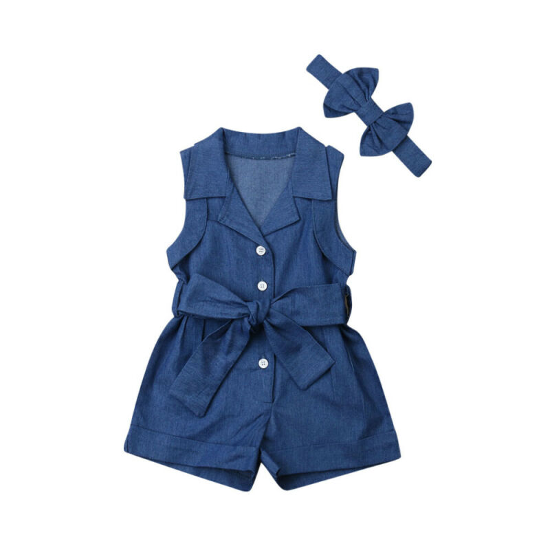 Maximum supplier 2019 1-6Years Summer Toddler Kids Baby Girl Clothes Denim Romper Jumpsuit 2PCS Outfits Set(China)