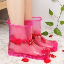 المنزل النساء تمرغ قدم الأحذية المحمولة حمام القدم تدليك أحذية صحية الانزلاق على قدم داخلي الرعاية الاسترخاء الجسم أحذية الأزواج
