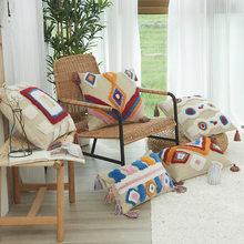 Handmade Cushion Cover Moroccan Style Pillow Case Tassel Edge Square Rectangular Pillow Case 45x45cm Ethnic Pillow Case