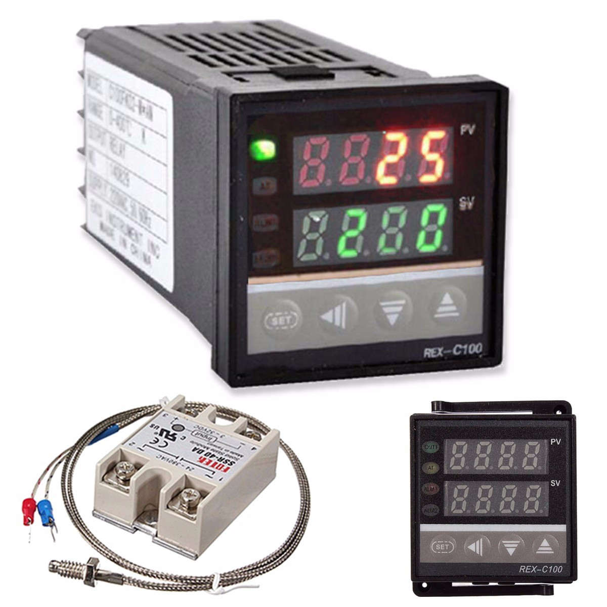 25A Solid State Relay AC 110V-240V 0-1300℃ Alarm Digital LED PID Temperature Controller Thermostat Kit with K Thermocouple Temperature Controller Kit