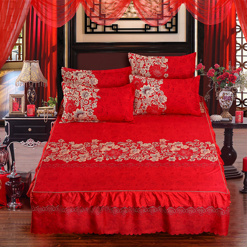Flowers Home Bed Sheet Cotton Red Bedding Bedspread Breathable Soft And Comfortable