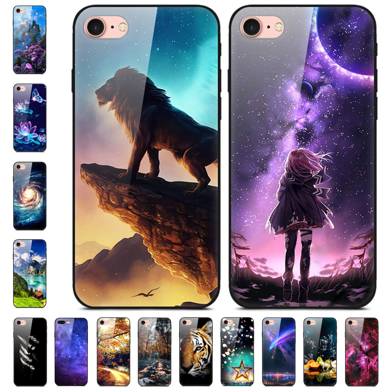 4.7\'\' For Iphone SE 2020 Case Glass Hard Phone Cases For Apple Iphone SE 2020 Case Bumper Tempered Coque For Iphonese 2020 7 8
