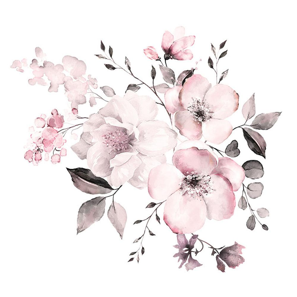 Pegatinas de pared de color agua de flores rosas, decoración de habitación, mural de sala de estar, pegatinas de decoración del hogar, pegatinas de racimo de flores, papel tapiz