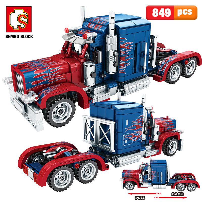 SEMBO 849pcs City Classic Pull Back Car Building Blocks Legoingly Technic Peterbilt Heavy Container Truck Bricks Toys For Boys
