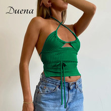 Duena Sexy Crop Strap Cross Halter Ribbed Knit 2021 New Summer Wrap Bandage Tied Backless Off Shoulder Women Tank