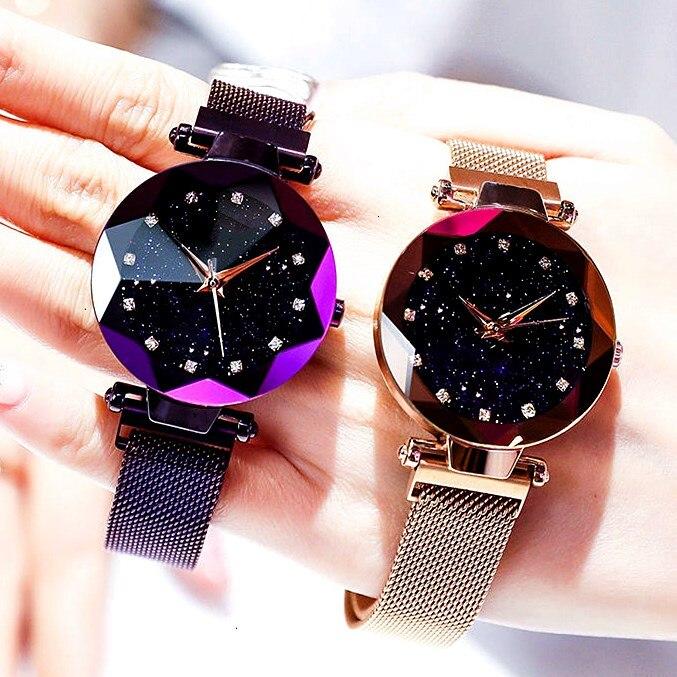 Женские кварцевые часы, с магнитной пряжкой и геометрическим узором