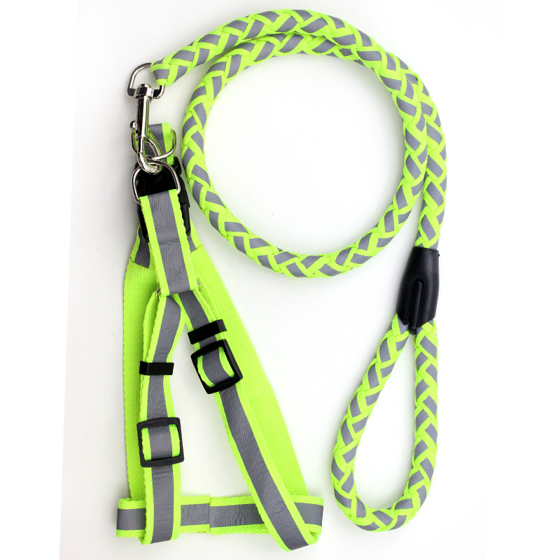 Reflective Chain Suspender Strap Golden Retriever Pet Dog Thoracic Teddy Samoyed Dog Universal Dogs And Cats Traction Belt Retra