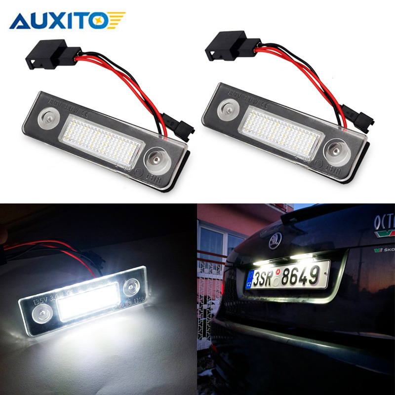 2Pcs Car LED Number License Plate Light Canbus for Skoda Octavia 2 1Z 2008~ Roomster 5J 2006-2010 Error Free accessories