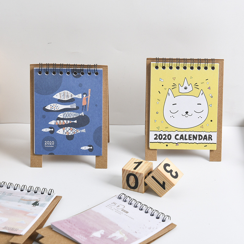 2020 Cute Cat Plants Desktop Paper Calendar Dual Daily Scheduler Planner School Office Supply Stationary