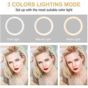 Image 3 - 스탠드 Rovtop LED 카메라와 함께 10.2 인치 링 라이트 아이폰 삼각대와 비디오 사진에 대한 전화 홀더에 대한 Selfie 라이트 링