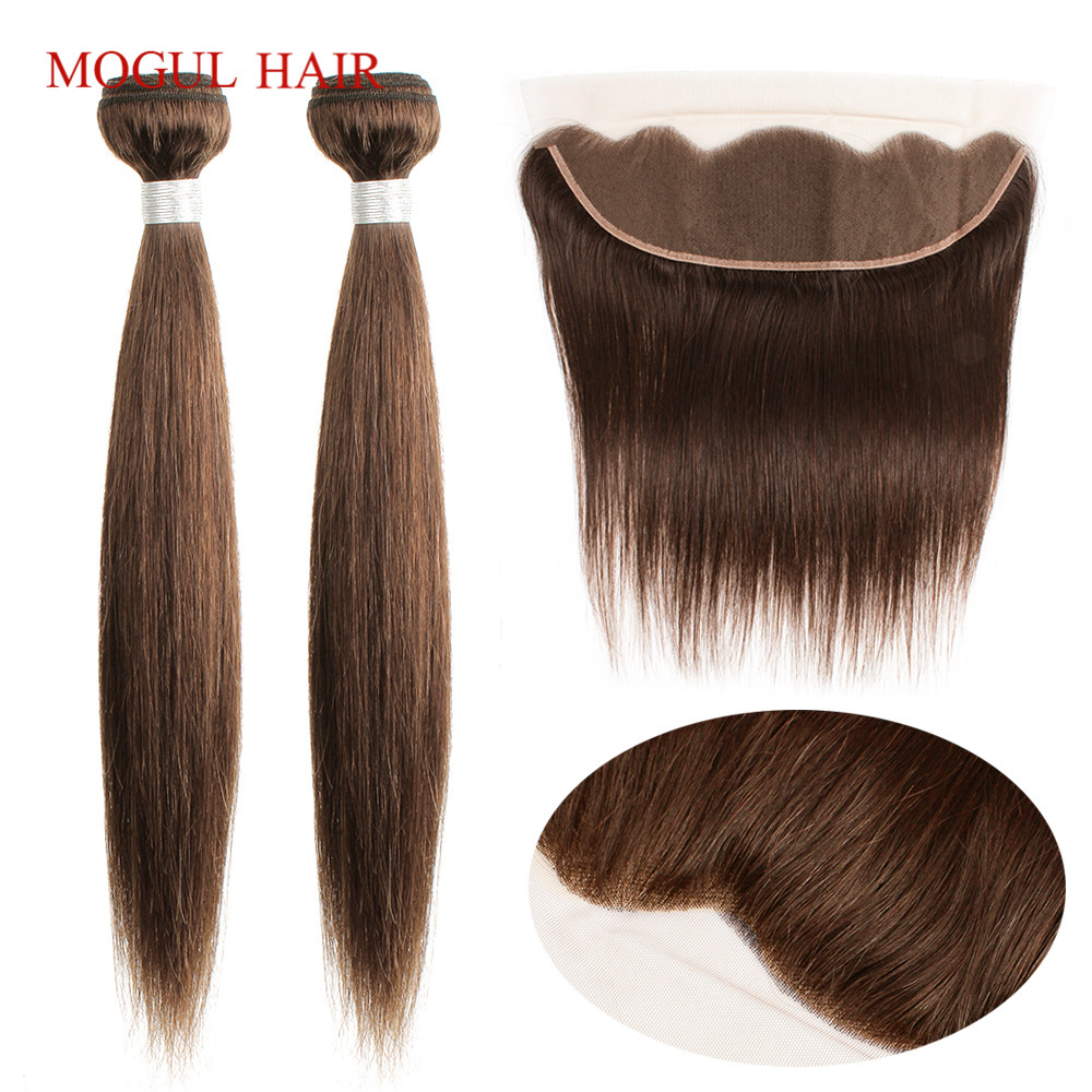Mogul Hair Dark Brown Brazilian Straight Hair Weave Bundles With 4x13 Lace Frontal 18-24 Inch Non Remy Long Human Hair Extension