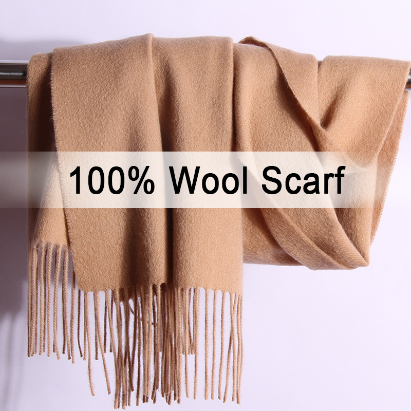 100% Pure Wool   Scarf   Winter Women Solid Brown Echarpe   Wraps   for Ladies Pashmina with Tassel Warm Merino Wool   Scarves   Cashmere