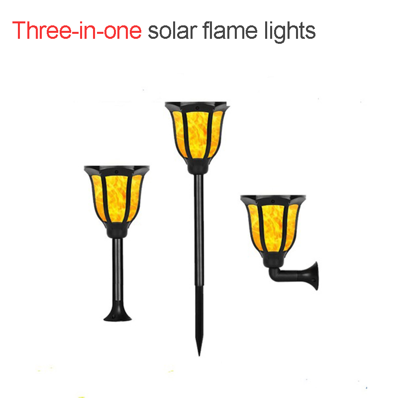 Three-in-one Solar Flame Light Flame Torches Lights 96LEDs Waterproof Solar Flame Lamp Effect Swinging Realistic Torch Dancing