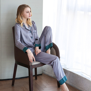 Image 4 - JULYS SONG Pijama de satén de seda de imitación para mujer, ropa de dormir de manga larga, para primavera y verano