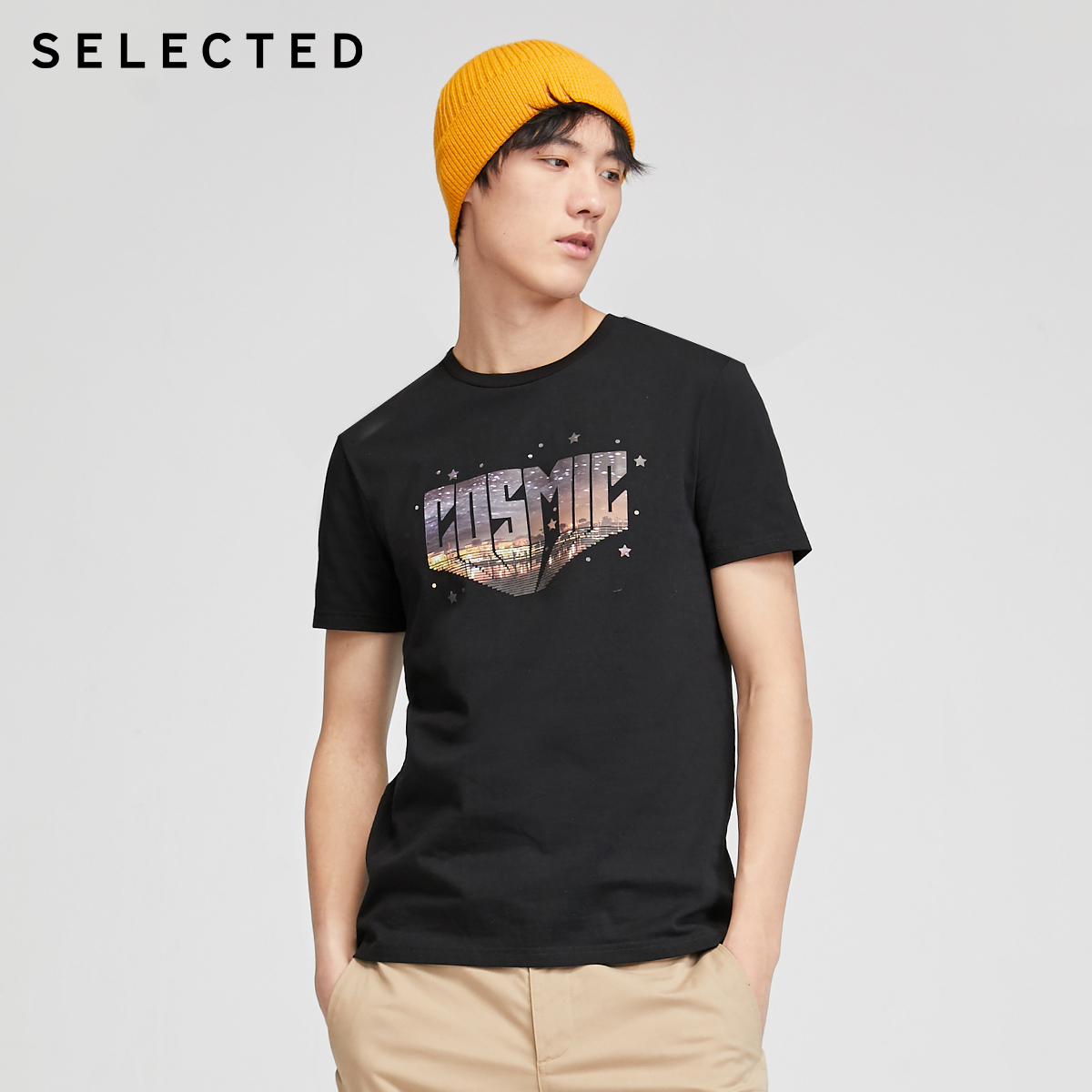 SELECTED Men's 100% Cotton Letter Print Short-sleeved T-shirt S|420201505