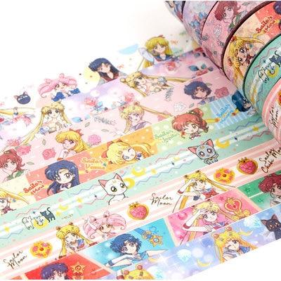 1.5cm Cartoon Sailor Moon Girl Cat Washi Paper Tape Adhesive Tape DIY Scrapbooking Sticker Label Masking Tape