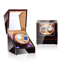 High-End Wood Watch Winder 5 Modes 2 Seats Blue Atmosphere lamp Automatic Watch Winder with Open-Stop Function Watch Winder