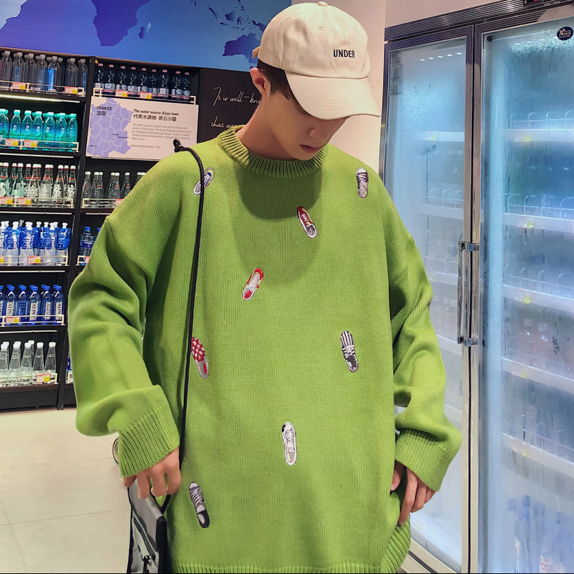 2019 Men's Woolen Casual Pullover In Warm Coats Cashmere Knitting Embroidery Long Sleeve Green/pink/blue/brown Male Sweaters