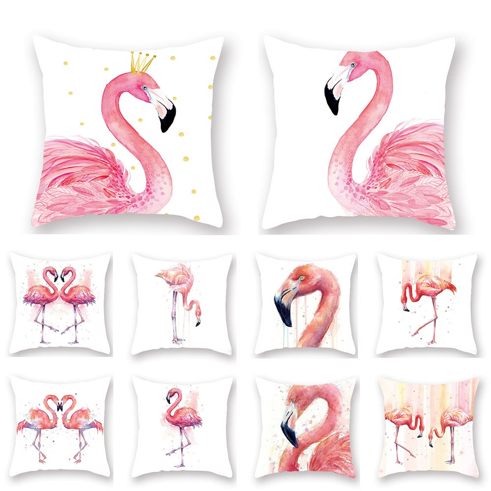45x45cm Flannel Pink Flamingo Cover Cushion Hawaiian Flamingo Party Decoration Summer Party Birthday Hawaii Decorations Party