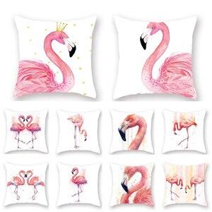 45x45 см фланелевый чехол с розовым фламинго, подушка, Гавайское украшение для вечеринки, летнее украшение на день рождения, Гавайские украшен...
