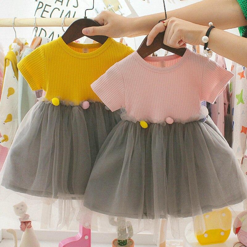 Bébé fille manches courtes robe fête anniversaire baptême robe Patchwork Tulle Infantil Vestido nouveau-né princesse été vêtements