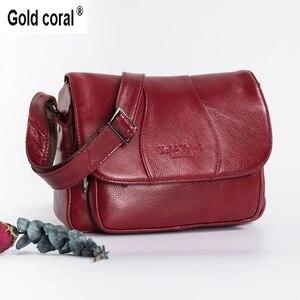 Image 1 - Altın mercan hakiki deri bayan omuz çantaları lüks kadın çanta kadın moda Crossbody çanta kadın büyük el çantası çanta
