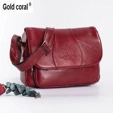 Bolso de hombro dorado y CORAL de piel auténtica para mujer, bandolera a la moda, bolso de mano