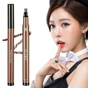 Women Makeup Sketch Liquid Eyebrow Pencil Waterproof Brown Eye Brow Tattoo Dye Tint Pen Liner Long Lasting Eyebrow TSLM1