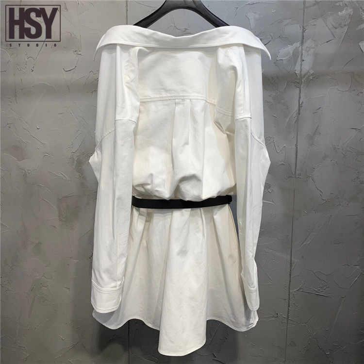 【HSY Studio】2019 חדש סתיו נשים רשתות שמלת חוט אפוד טלאים מזויף שתי חתיכה שחור החגורה כבויה כותנה לבן חולצה שמלה