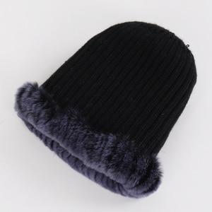 Image 5 - Sombrero de piel Real para mujer buen punto elástico auténtico de piel de conejo Rex sombrero de Invierno para mujer cálido grueso de piel Natural al por mayor al por menor