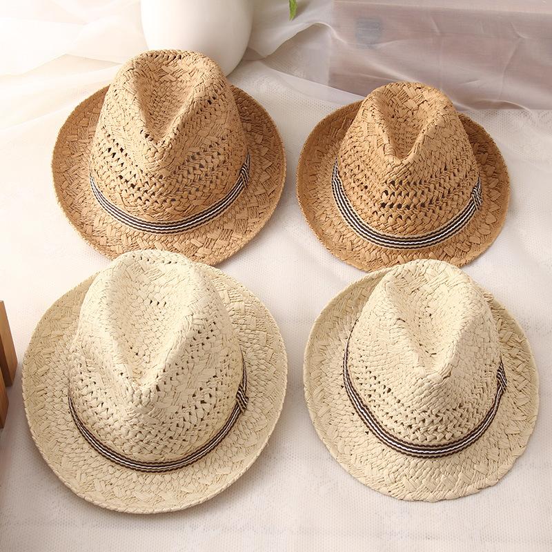 Летние Повседневные шапки от солнца для родителей и детей, модная шляпа для мужчин и женщин в стиле джаз, Пляжная соломенная шляпа-трилби, шляпа с полым поясом, Кепка От Солнца