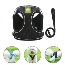 Dog Harness Pet Adjustable Reflective Vest Walking Lead Leash For Puppy Polyester Mesh Small Medium